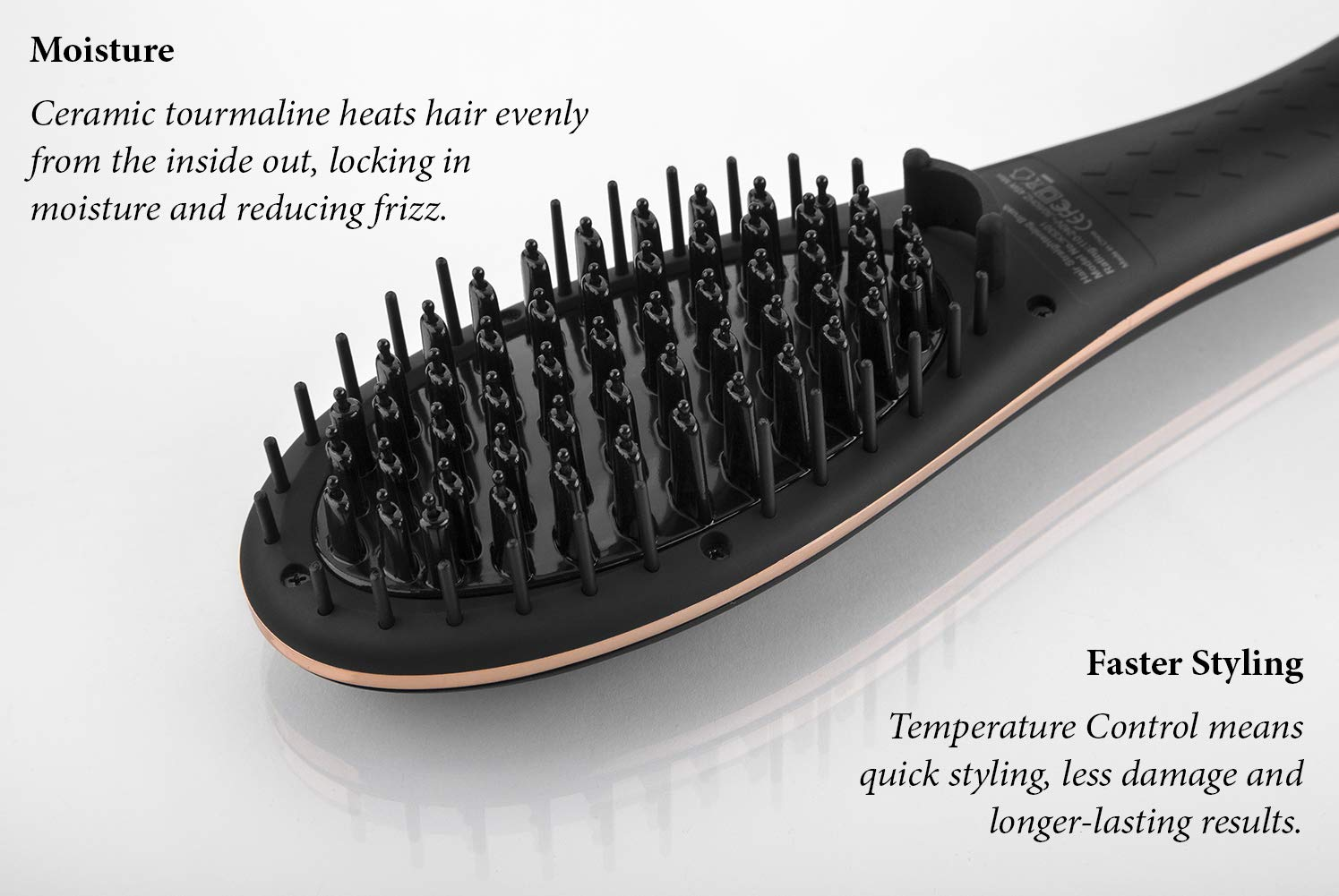 Hair Straightening Brush (Rose Gold) - Ceramic Tourmaline Straightener - Digital Temp control + Ionic - Salon Grade