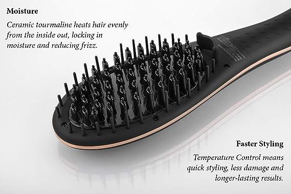 FoxyBae - Cepillo alisador de pelo (oro rosa) - alisador de turmalina de cerámica - Control digital de temperatura + iónico, grado salón: Amazon.es: Belleza