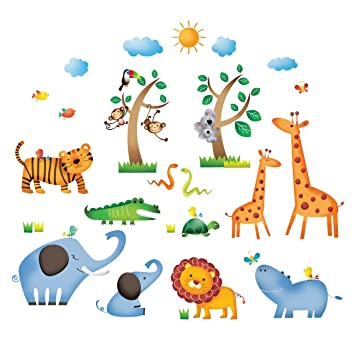 Decowall DS-8016 Animaux Jungle Sauvages Autocollants Muraux Mural ...