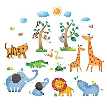 Decowall DS 8016 Animaux Jungle Sauvages Autocollants Muraux Mural Stickers  Chambre Enfants Bébé Garderie Salon