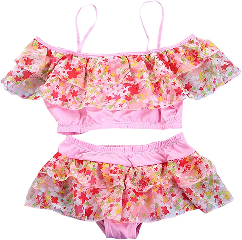 56fa4e273 Girls Two Pieces Skirt Swimsuit Set, Floral Print Flounce Off Shoulder  Tankini Tops with Skirt