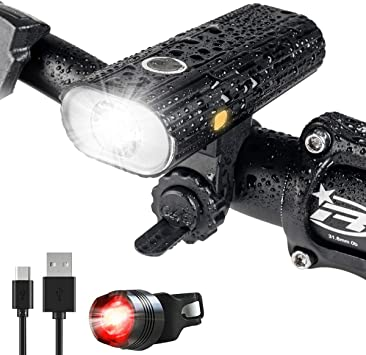 USB Rechargeable IPX4 Waterproof LED Multifunction Bike Lamp /& Rear Light Set UK