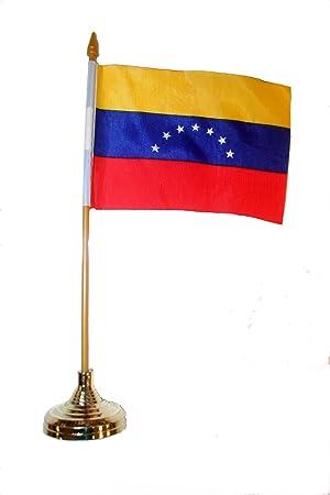 Venezuela pequeño 4 X 6 pulgadas Mini país Stick banderines con soporte de oro en un 25,4 cm poste de plástico.. Nuevo: Amazon.es: Jardín