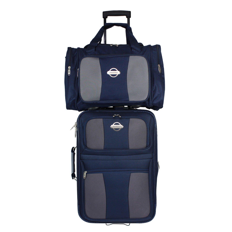 TRANSWORLD 2-Piece Expandable Wheeled Upright Luggage Set, Navy Grey