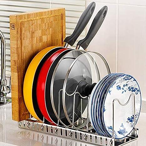 Wisfruit Soportes para Ollas Ajustable, Rack de Tapa expandible Utensilios de Cocina Cocina Rack de Drenaje Pan Pot Tapa Organizador de Racks de Placa, ...