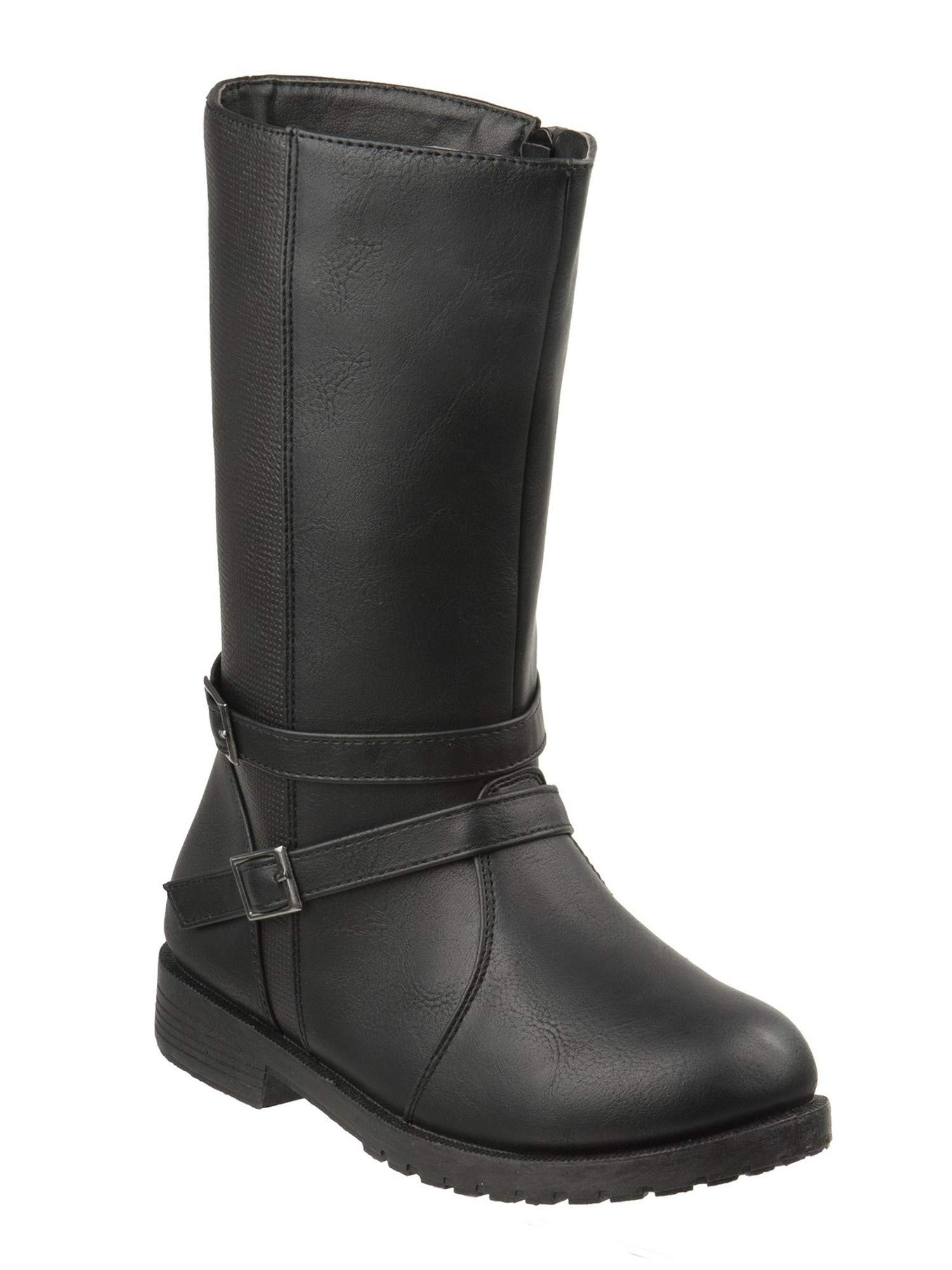 Josmo Girls Black Buckled Ankle Strap Side Zipper Mid Calf Boots 11 Kids