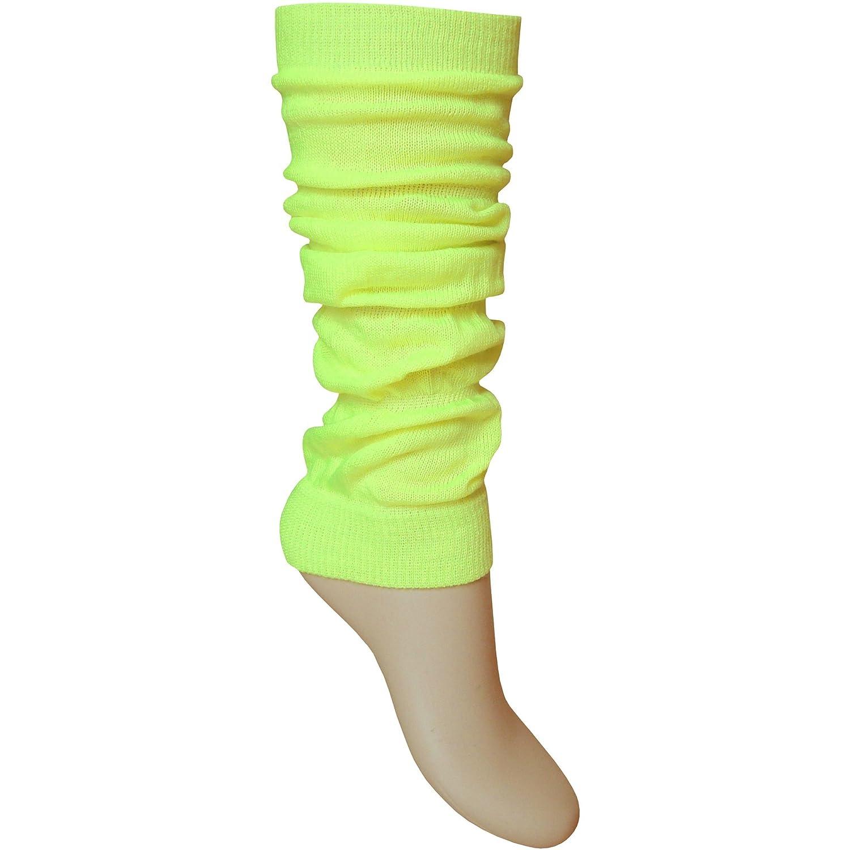 Mädchen Damen Beinwärmer Hell Fluoreszierendes Neon Stretch Fit Knöchelwärmer Schwarz Einheitsgröße