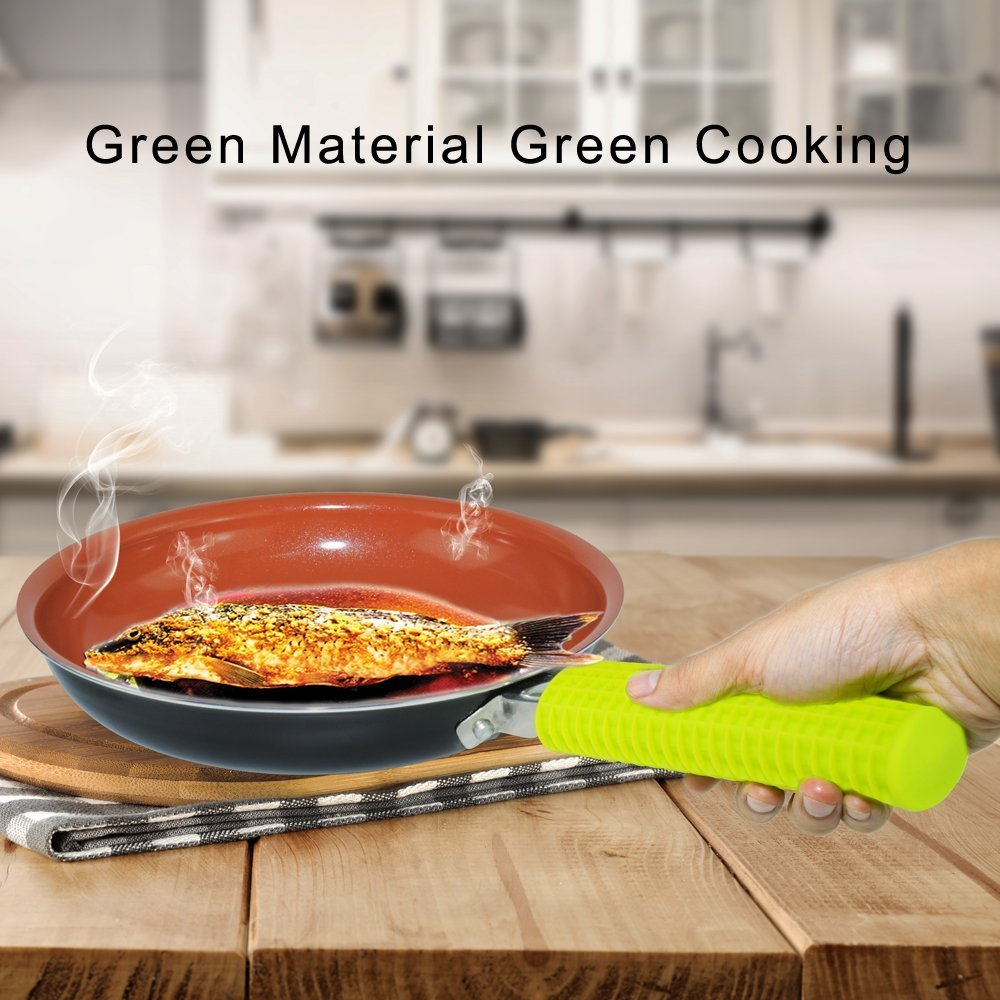 Silicon Handle Holder for Frying pans,Handle Cover,Protection Sleeve,Heating Isolated To 240 Degree,Standard Size, Easy Store,Idea Hot Handle Protection for Hommate Metal Frying Pan,Skillet&Cookware.