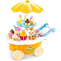 Smartcraft Sweet Candy Shop Cart - Yellow, Sweet Shop Trolley Cart with Music and LED Lights for Kids