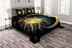 Ambesonne Psychedelic Bedspread, Moon and Sun in Antique Style Lunar Myth Astrology Art Print, Decorative Quilted 3 Piece Coverlet Set with 2 Pillow Shams, Queen Size, Navy Yellow