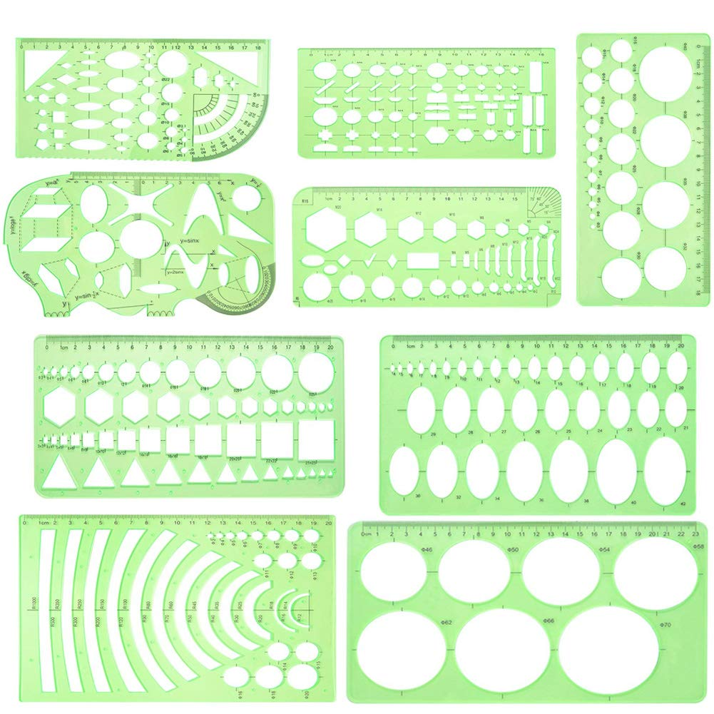 OSOF 9 Pieces Different Styles Geometric Drawings Templates Measuring Rulers Plastic Clear Green Draft Building Formwork Stencils Rulers for School Office Supplies, Building and Studying