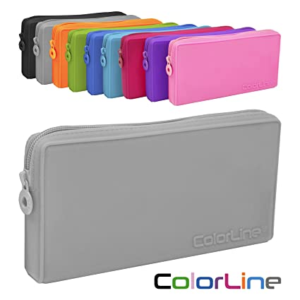Colorline 58711 - Portatodo Plano de Silicona, Estuche Multiuso para Viaje, Material Escolar, Neceser y Accesorios. Color Gris, Medidas 21 x 10.5 x 3 ...