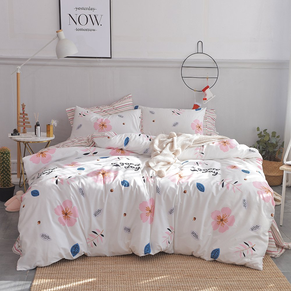 (Queen, Style7) Cotton Flower Print Duvet Cover Set Queen Floral Pink Girls Duvet Cover Set Full Reversible Striped Bedding Set for Kids Adults Hotel Soft Luxury Bedding Cover Set with Zipper Closure and Corner Ties B072LF3VCP