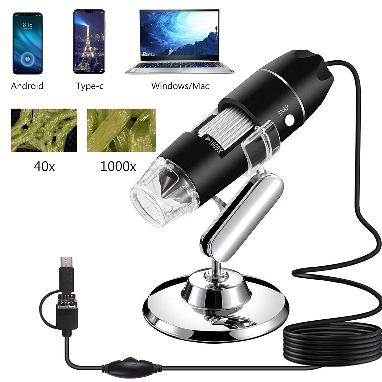 AOLOX USB Microscope, 1000x Handheld Digital Microscope Camera with 8 LED Light and Stand Hobby Tools for Kids, Students, Adults, Compatible with Mac/ Window 7/Android by AOLOX