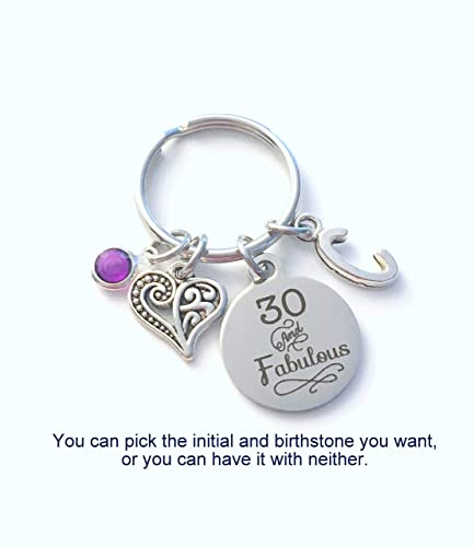 30th Birthday Gift For Women 30 And Fabulous Keychain Daughter Sister Best