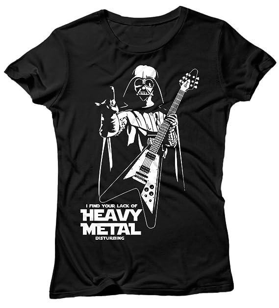 Camiseta Mujer Heavy Metal Disturbing - Camiseta 100% algodòn LaMAGLIERIA, S, Negro