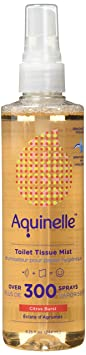 Aquinelle Toilet Tissue Mist, Eco Friendly & Non Clogging Alternative To Flushable Wipes Simply Spray On Any Folded Toilet Paper (8.25 Oz Citrus Burst) by Aquinelle