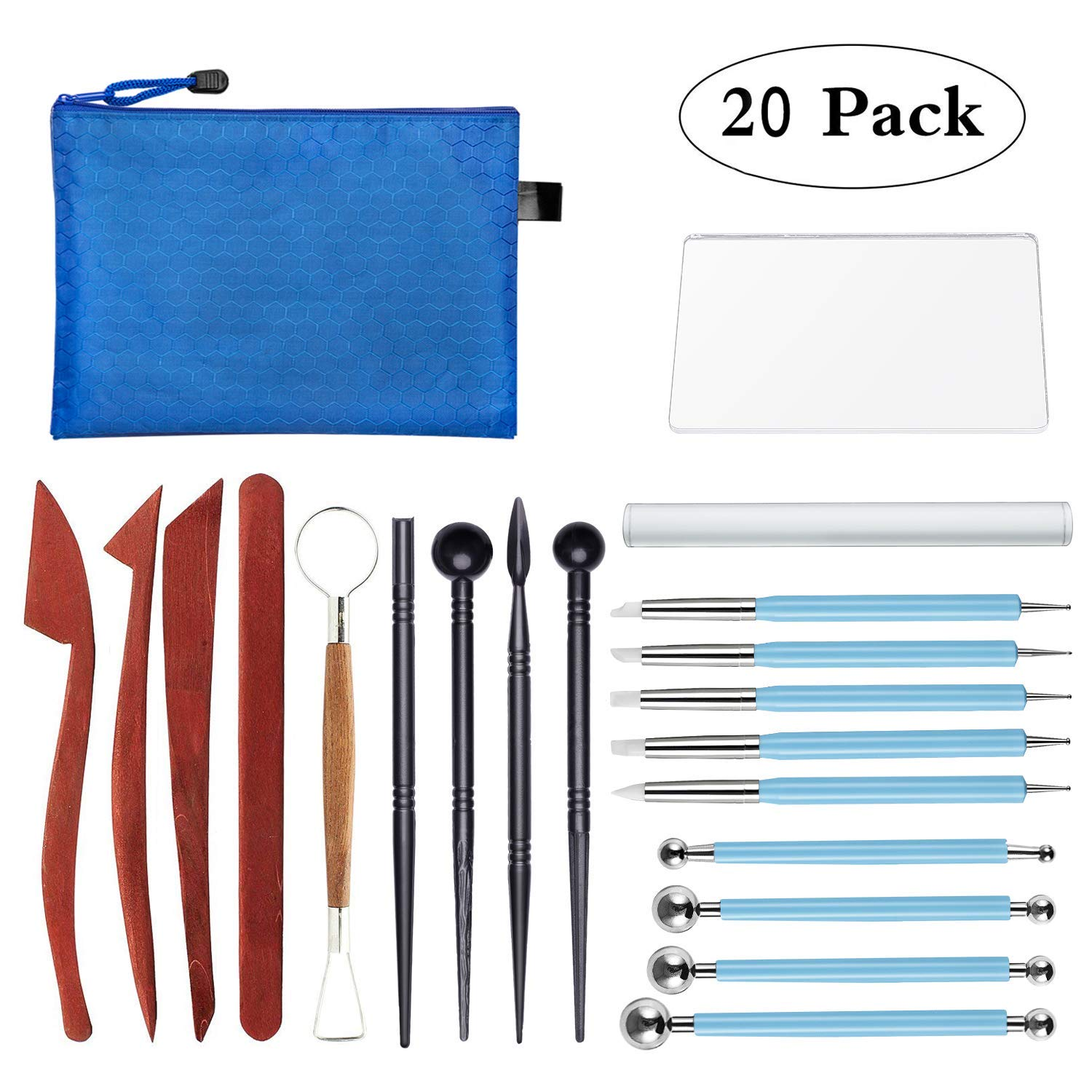 Polymer Clay Tools,23 pcs Modeling Clay Sculpting Tools Kits for Pottery Sculpture, Include Wooden Dotting Tools,Rubber Tip Pens,Ball Stylus Tool,Modeling Tools Pottery Tools,Rosewood Ceramics Tool vorey