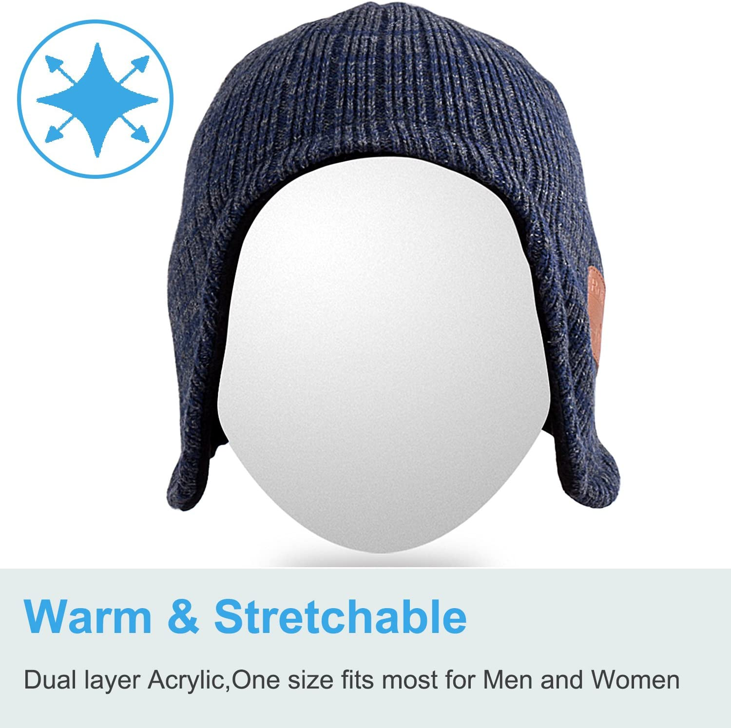 Bluetooth Beanie,Qshell Music Hat with Wireless Bluetooth Headphone Headset Earphone Stereo Speaker Mic Hands Free,Best Birthday for Mens Womens Winter Outdoor Skiing Snowboard Hiking
