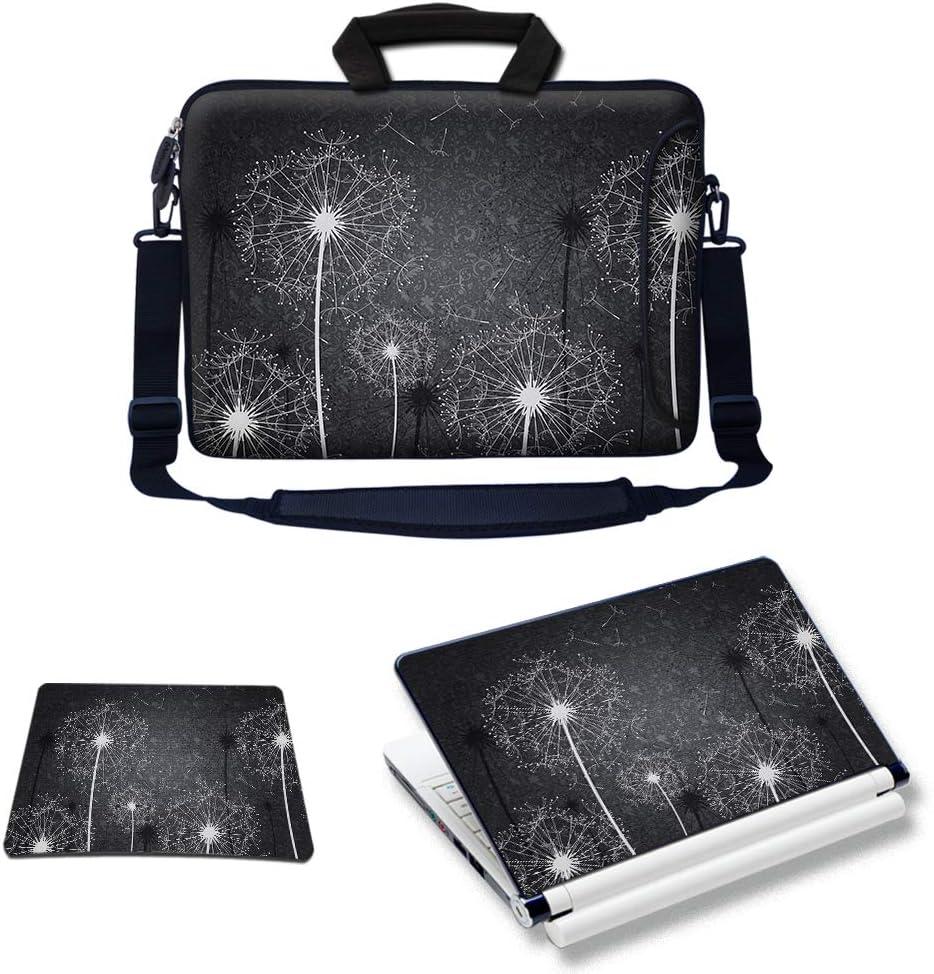 Meffort Inc Laptop Bundle - Includes Neoprene Laptop Bag with Side Pocket Adjust Shoulder Strap with Matching Skin Sticker Decal & Mouse Pad (17.3 Inch, Black White Dandelion)