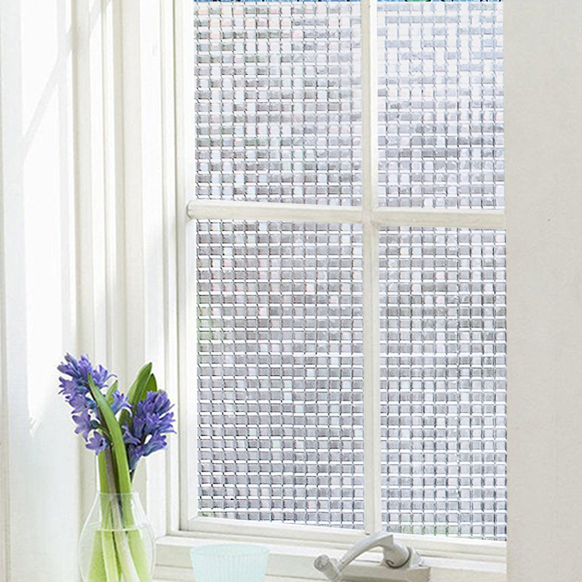 3D Frosted Glass Window Sticker Privacy Vinyl Window Blinds Decorative Opaque Static Cling Anti-UV 17.7x78.7 EASEHOME Self Adhesive Window Film 45x200cm Mosaic Pattern