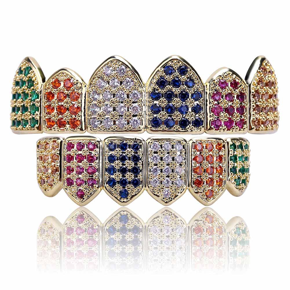 18K Gold Plated Clown Grillz Set Multi-Color CZ Bling Cubic Zirconia Top & Bottom Teeth Hip Hop Grills