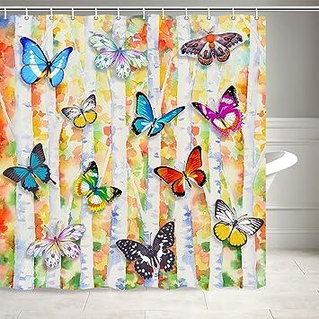 Shower Curtain With 12 Hooks Beautiful Butterfly Trees Waterproof Bathroom