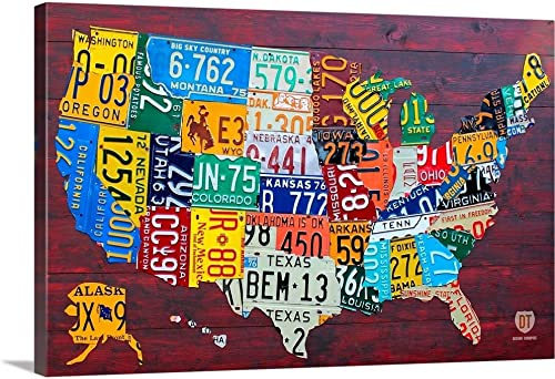 License Plate Map USA Large Canvas Wall Art Print