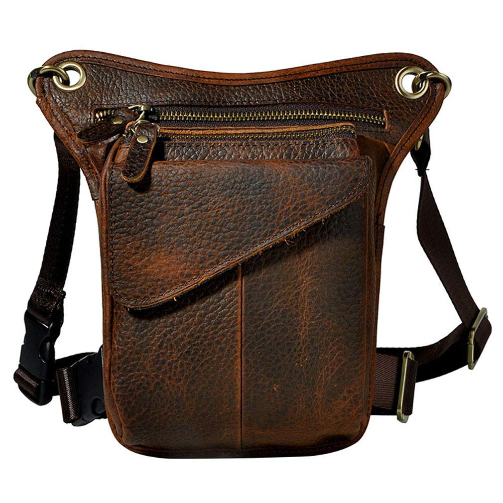 Hebetag Vintage Leather Waist Pack Drop Leg Bag for Men Women Belt Bumbag Multi-Purpose Motorcycle Bike Outdoor Sports Tactical Cycling Riding Hiking Camping Deep Coffee by Hebetag