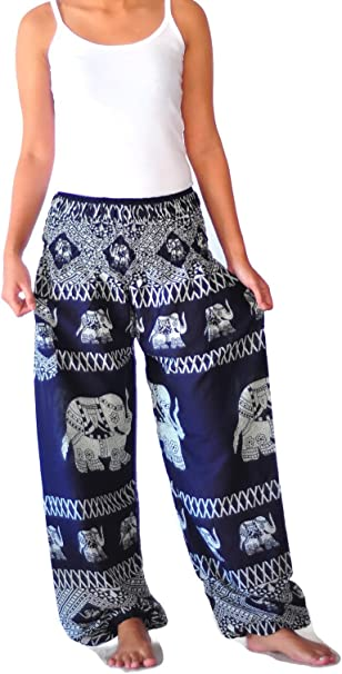 Ahh pants Womens Comfy Boho/Yoga Clothing Harem Pants Elephant Print Rayon