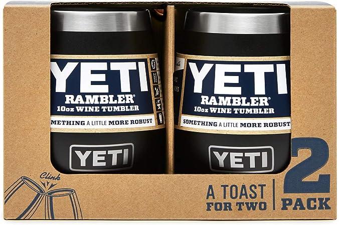 Amazon Com Yeti Rambler 10 Oz Wine Tumbler Vacuum Insulated Stainless Steel 2 Pack Black Sports Outdoors