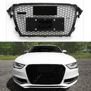 Rejilla deportiva de malla para A4, B8.5 B9, color negro brillante RS4 tipo 2012 - 2015: Amazon.es: Coche y moto