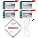 Morpilot 4 Pcs 3.7v 860mah 25C Lipo Battery (JST Plug) with 4-Ports Charger for MJX X400 X400W X800 X300C X200 X500 RC Quadcopter Parts Sky Viper V950 Drone