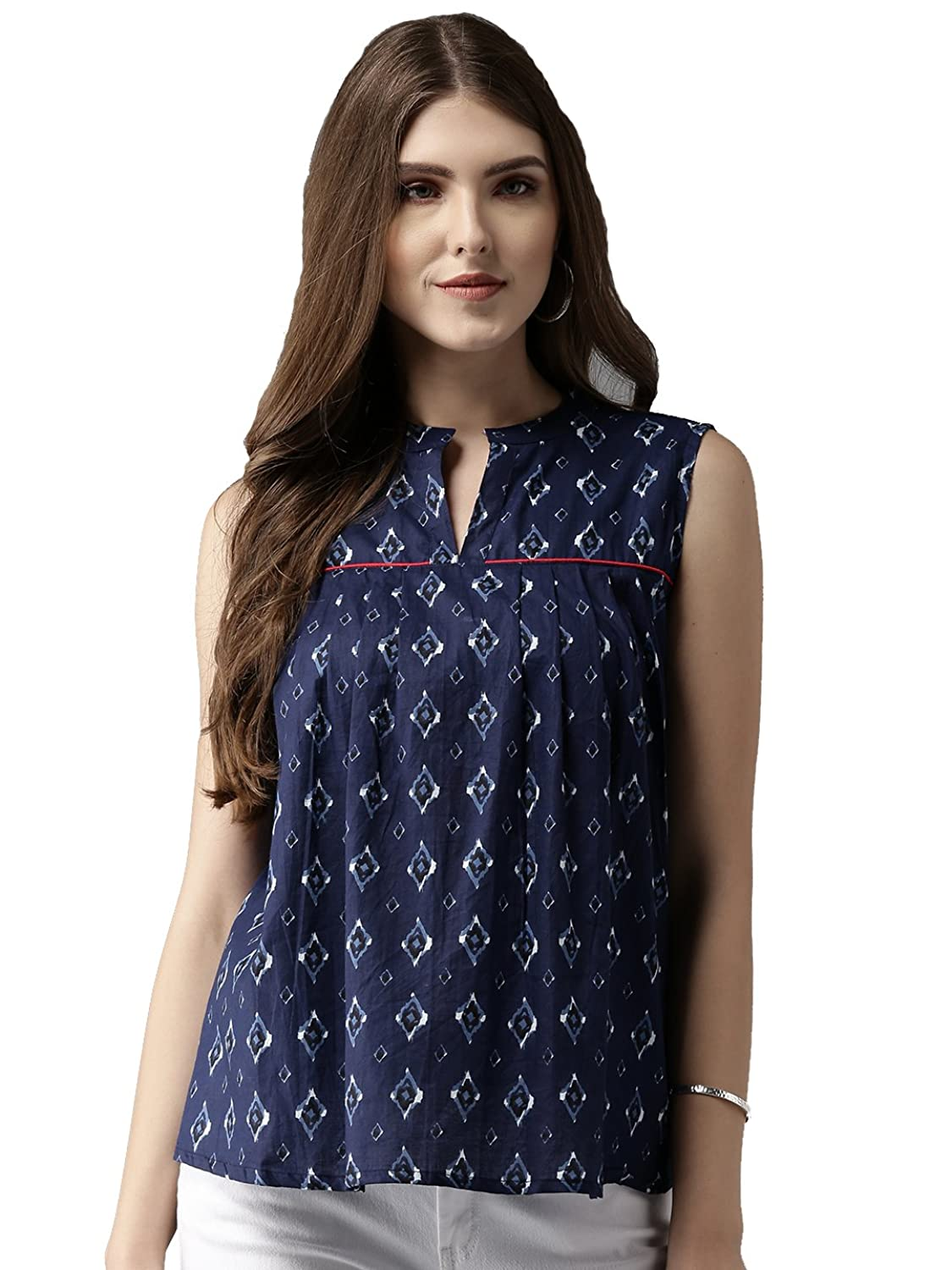 Amayra Women's Navy Blue Printed A-Line Top
