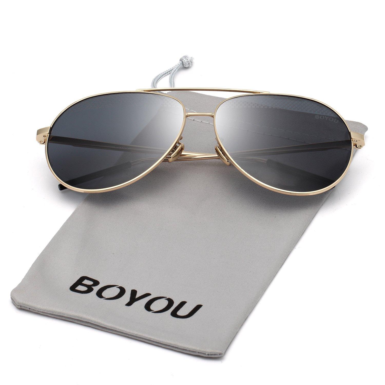 BOYOU Gafas de sol lente de espejo aviador clásicos con protección UV400