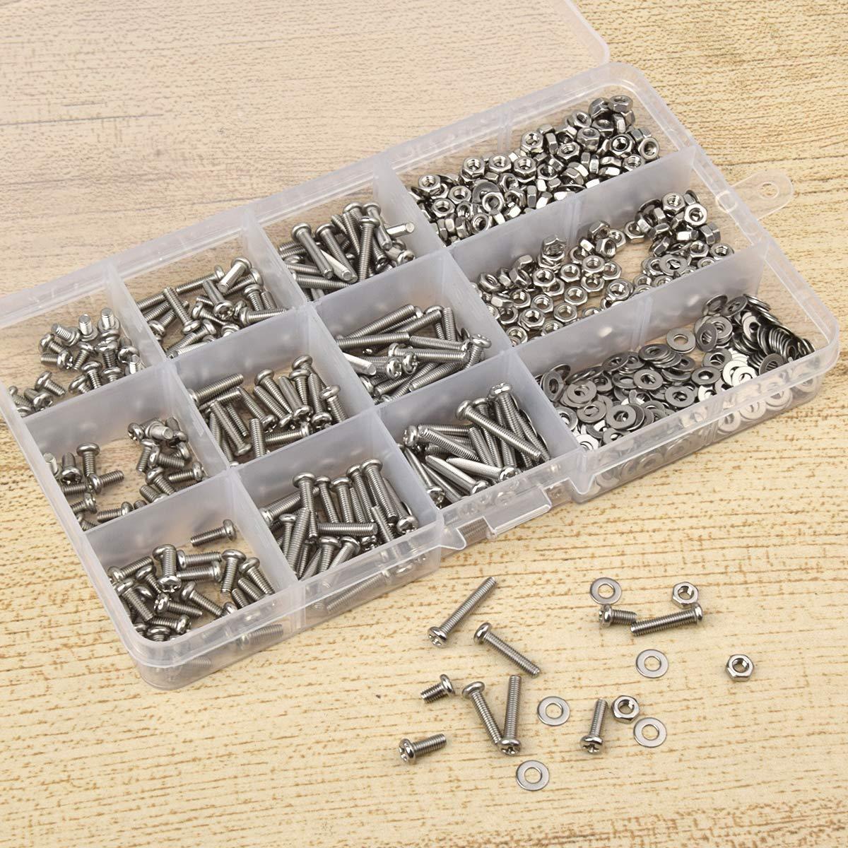 cabeza de sart/én tornillos Set de tornillos de acero inoxidable tuercas arandelas planas m/áquina tornillos Kit Loscrew 765 piezas M3 tornillos
