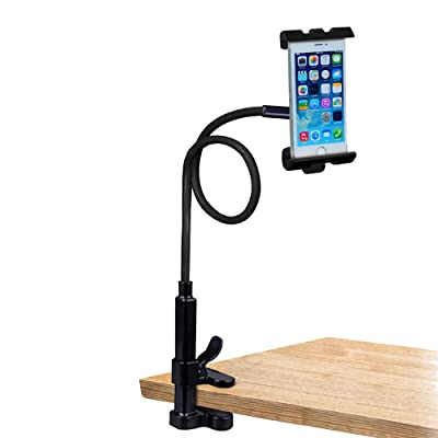 Trellonics Gooseneck Phone Holder Mount Clamp Stand-360 Degree Rotation Adjustable Hands-Free Universal Bracket Cradle Fits All iPhones Samsungs and Many Others