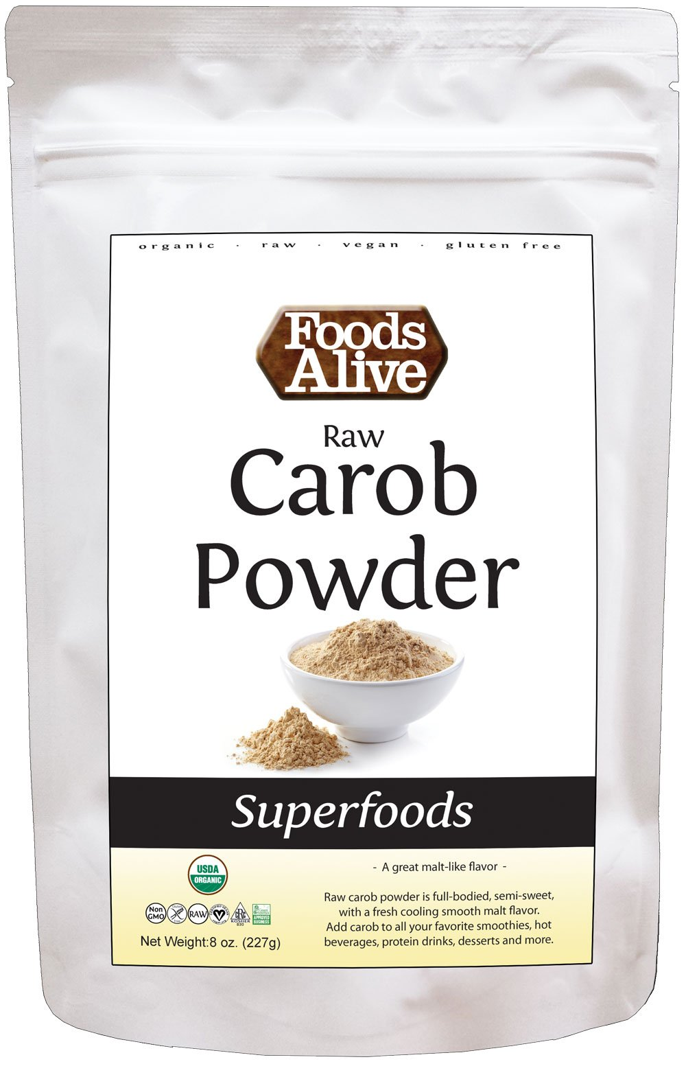 Foods Alive Organic Carob Powder, Raw, 8 Ounce