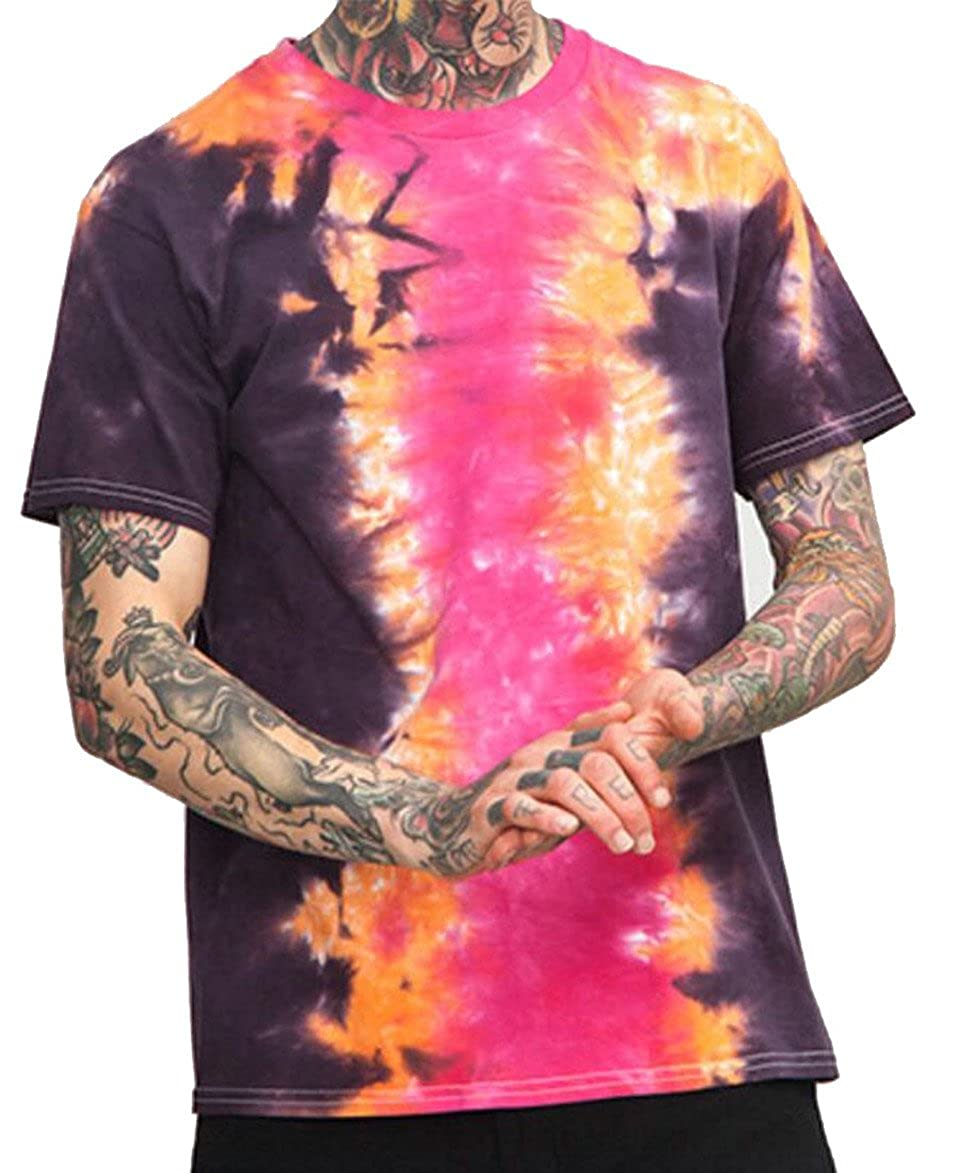 Qiangjinjiu Men Tie Dye Short Sleeve Rounded Collar Stylish Slim Fitted T-Shirt