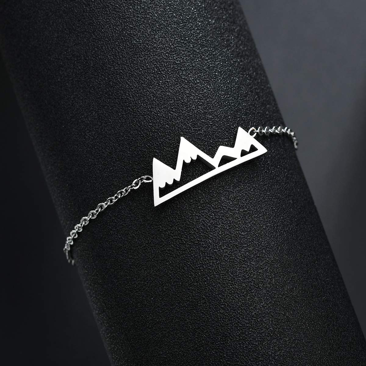 RUNXINTD Mountain Range Jewelr Mountain Inspirational Chain Bracelet Camping Gift for Mountaineer Outdoor Lovers Gift