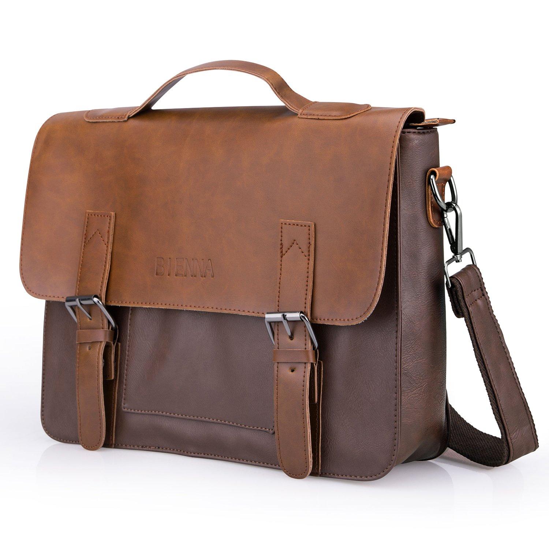 Often Aktentasche Herren Premium Ledertasche Bürotasche Umhängetasche Handtasche Laptoptasche 14 Zoll Lehrertasche Wasserdichte Schultertasche Businesstasche Messenger Bag - Dunkelbraun