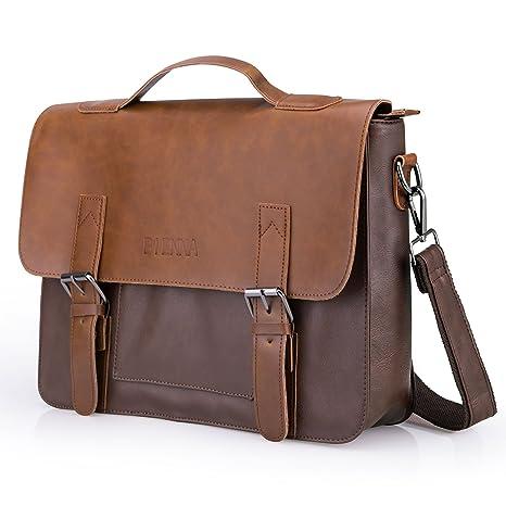 92aee08a8016e Often Aktentasche Herren Premium Ledertasche Bürotasche Umhängetasche  Handtasche Laptoptasche 14 Zoll Lehrertasche Wasserdichte Schultertasche ...