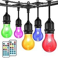LED Outdoor String Lights Elfeland 48FT Patio Lights RGB Multicolor String Lights Dimmable Hanging Lights Backyard…
