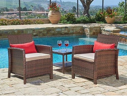 SUNCROWN Outdoor Furniture 3-Piece Patio Wicker Chair
