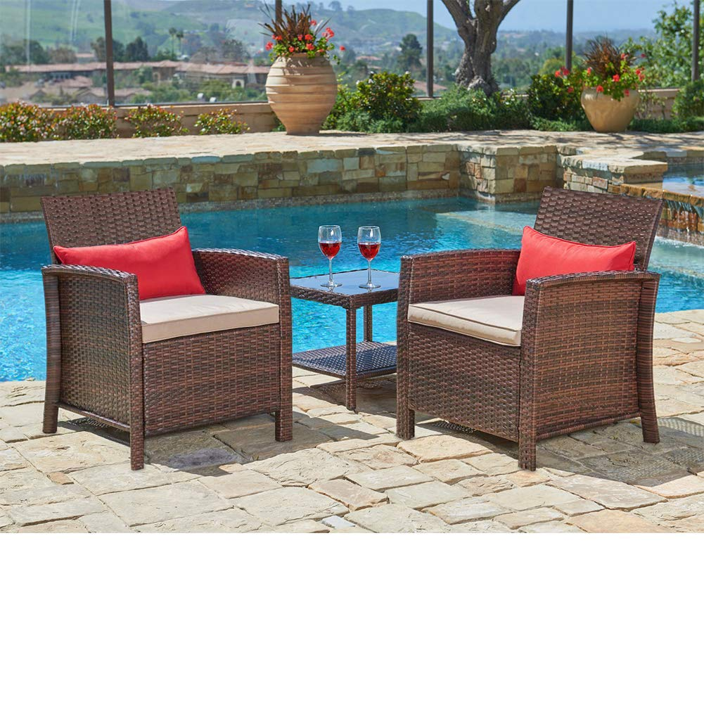 SUNCROWN Outdoor Furniture 3-Piece Patio Wicker Chairs with Glass Top Table Set, Thick Durable Cushions with Washable Covers