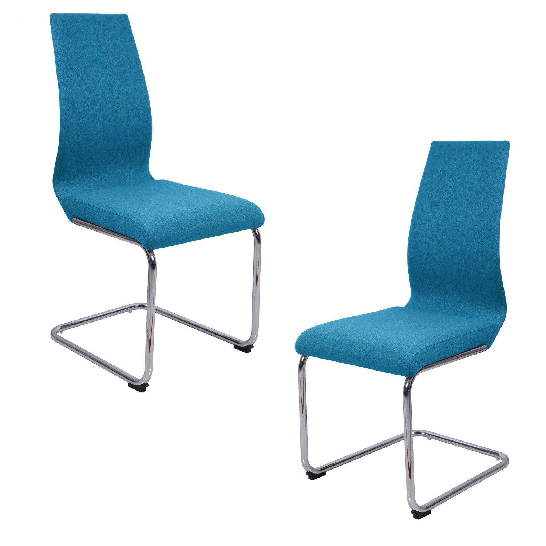 Lot 2 chaises salle à manger bleu azur - idéal salle à manger réception - pieds en metal chromé - PEPS