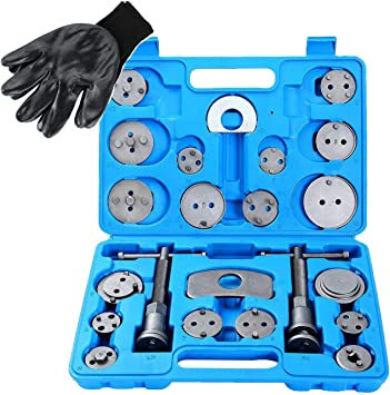 22Pcs Universal Tools Disc Brake Caliper Tool Set For Brake Pad Heavy Duty Caliper Tool Set Disc Brake Piston Rewind Wind Back Car Tool Kit Including All Professional Break Accessories With Carry Box