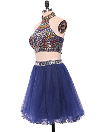 Two Piece Beaded Prom Dresses Short Halter Crop Top Tulle Skirt Women Teenagers: Amazon.co.uk: Clothing