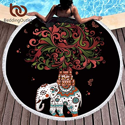 Amazon.com: RKR Shop Boho Round Beach Towel Indian Tassel ...