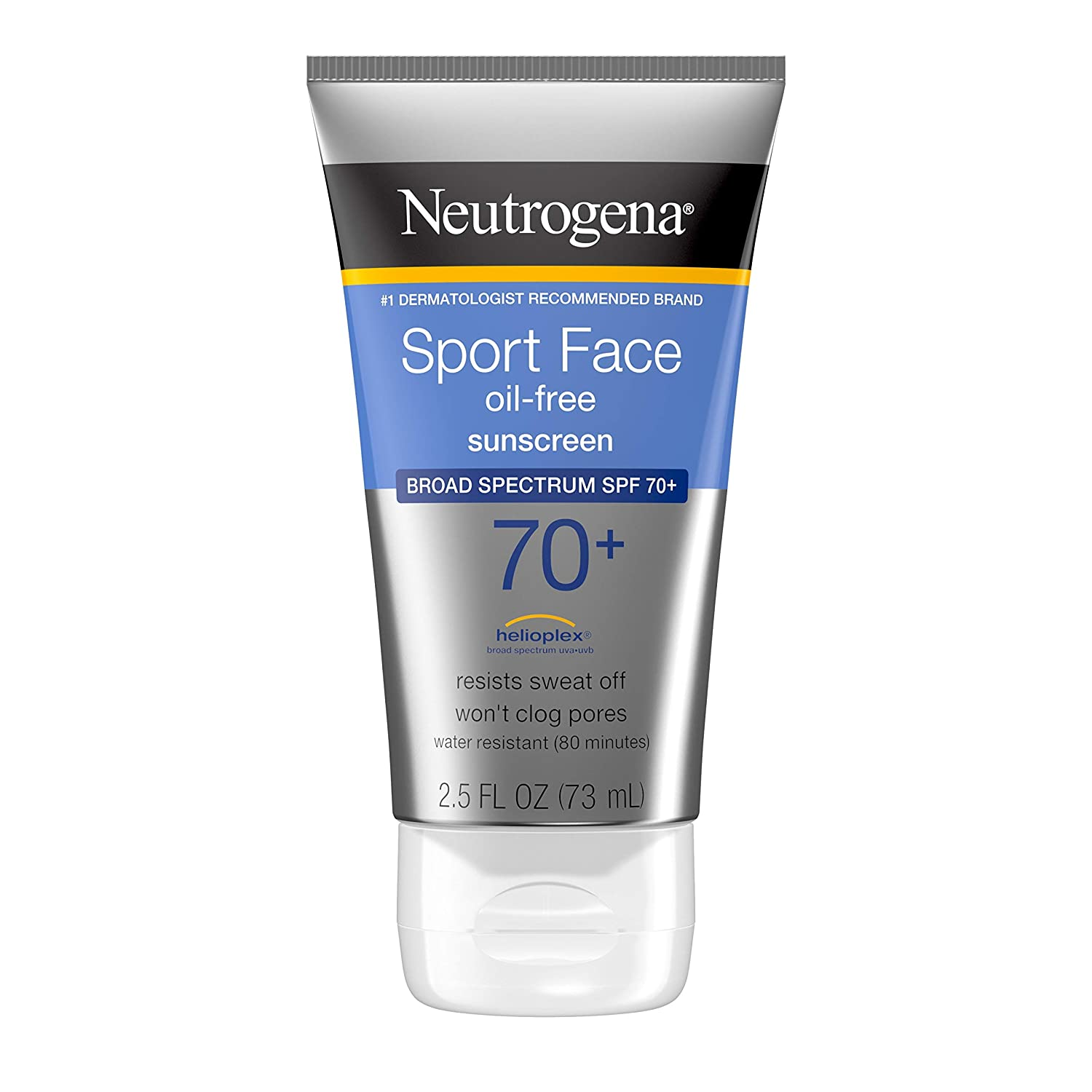 Neutrogena Sport Face Sunscreen, Oil-Free Sunscreen Lotion with Broad Spectrum UVA/UVB SPF 70+ Protection, Sweat-Resistant & Water-Resistant Active Sport Sunscreen, 2.5 fl. oz: Beauty